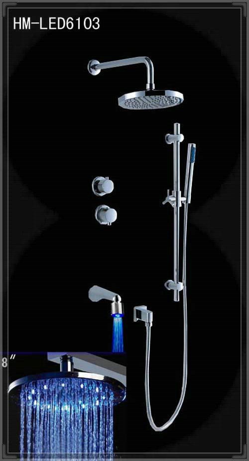 factory tap 3-way Led shower set shower wall concealed shower head spout hand shower kit aparelhos para banheiro(China (Mainland))