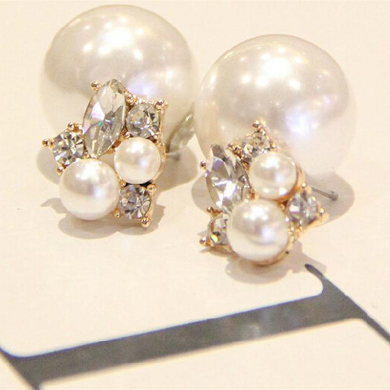 1pair Fashion Trendy Double Sides Pearl Earring Two Ball Stud Earrings For Girls Crystal Jewelry Free Shipping(China (Mainland))