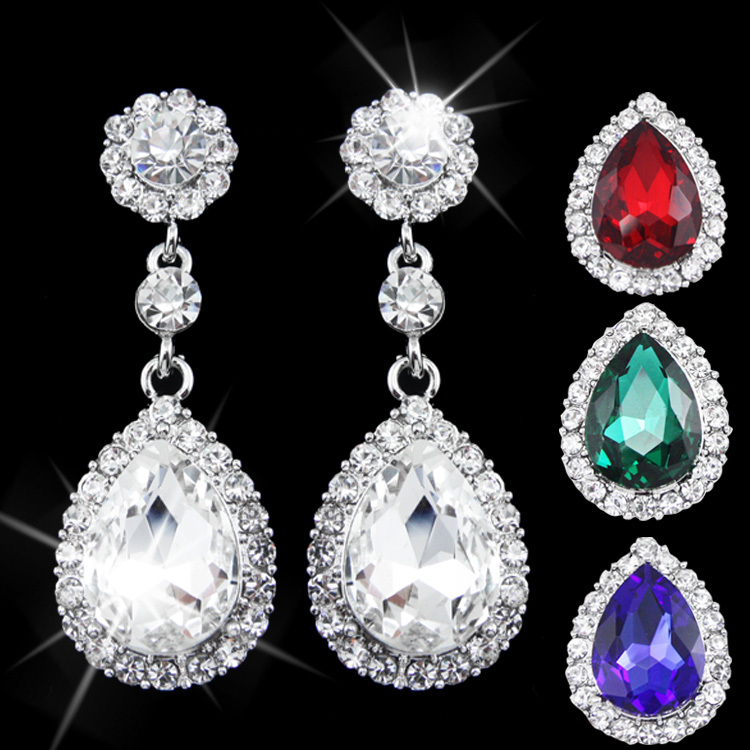 Supernova Fashion Earrings 5 Color Crystal Dangle Earrings Silver Plated Big Flower Drop Earrings For Women Wedding ers-g53