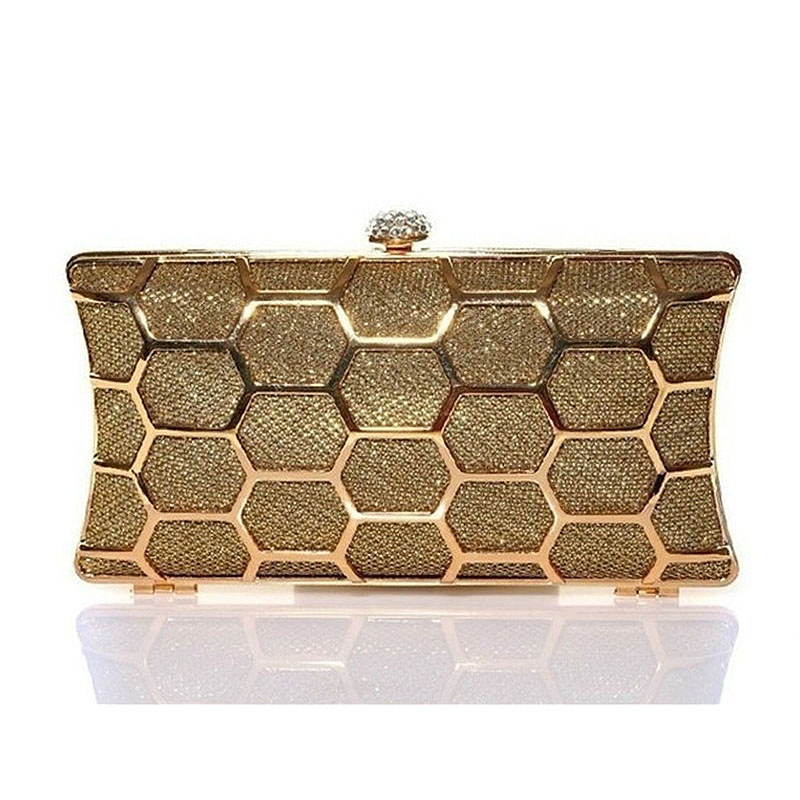 2016 Ladies Metal Evening Bag Women Rhinestone Day Clutch Purse Hollow Out Wedding Party Shoulder Bag Dinner Handbag Bolsa Mx116