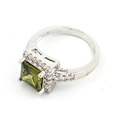 Fashion High Quality Fine Jewelry Aqua Green 925 Sterling Silver Topaz Women/Lady's Dramatic Ring HS0015R