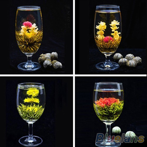 4 Balls Chinese Artisan Different Handmade Blooming Flower Green Tea 02M3 35WB