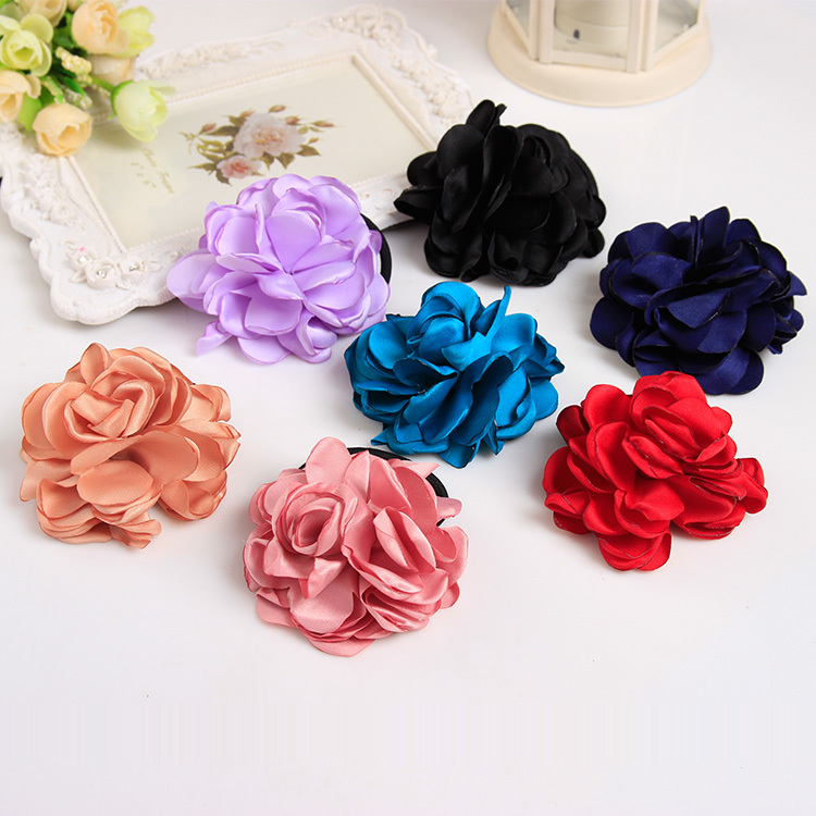 Big Rose Flowers Noble Elastic Hair Bands Headbands for Girls Headwear Hair Accessories for Women(China (Mainland))