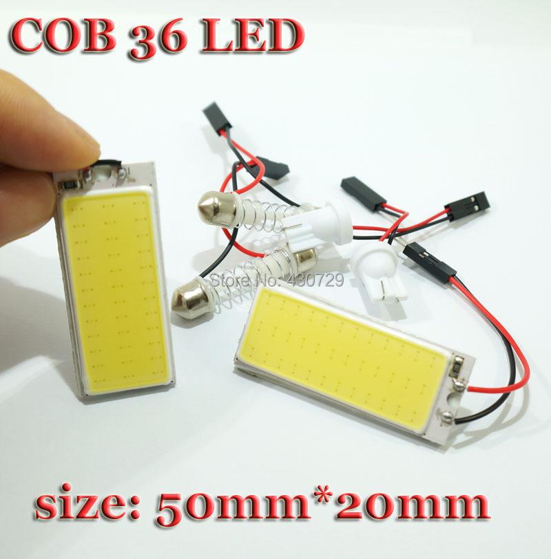 2PCS free shipping Wholesale White 4W COB Chip LED Car Interior Light T10 Festoon ba9s Dome Adapter 12v, Car Vehicle LED Panel(China (Mainland))