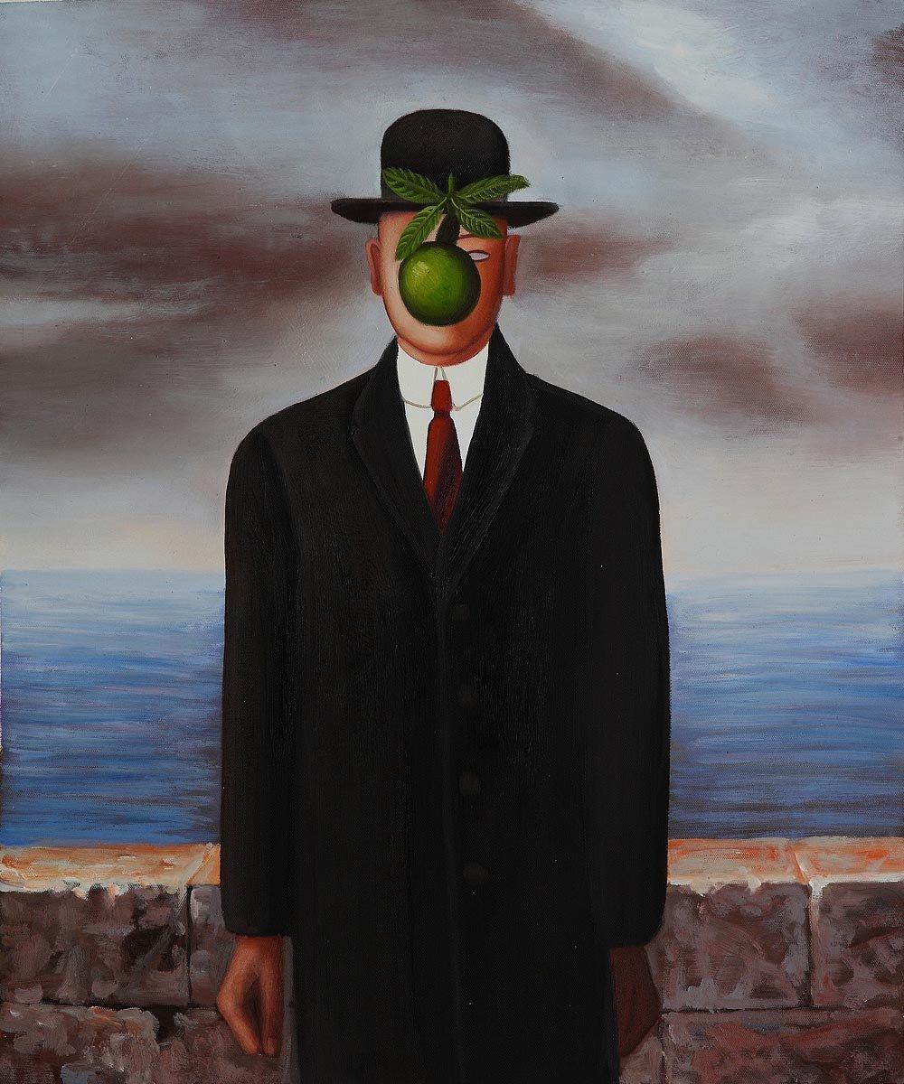 Человек с яблоком вместо лица 14 фотография