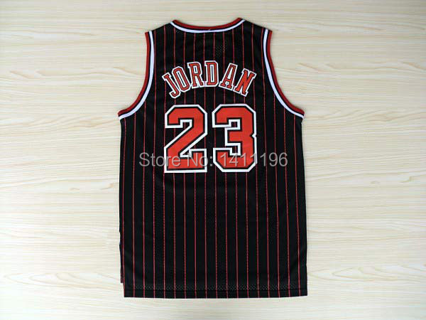 Retro Michael Jordan Chicago #23 Classic Black With Stripe Basketball Jersey(China (Mainland))
