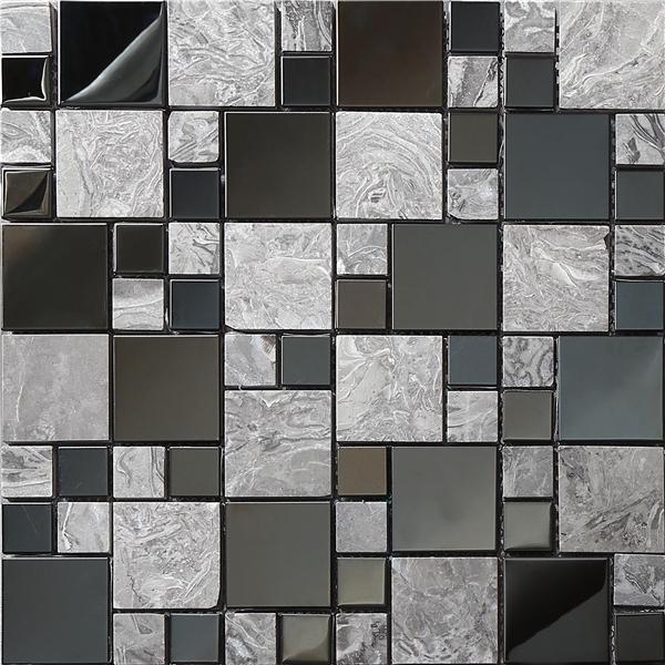 SA073-8, High quality Marble metal mosaic tiles,stone metal mosaic for wall