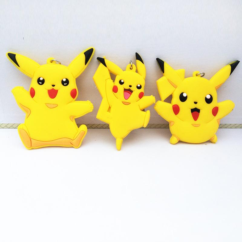 Pendant Anime doll Keychain double silicone doll Pikachu cute cartoon creative gift Garage Kit toys(China (Mainland))