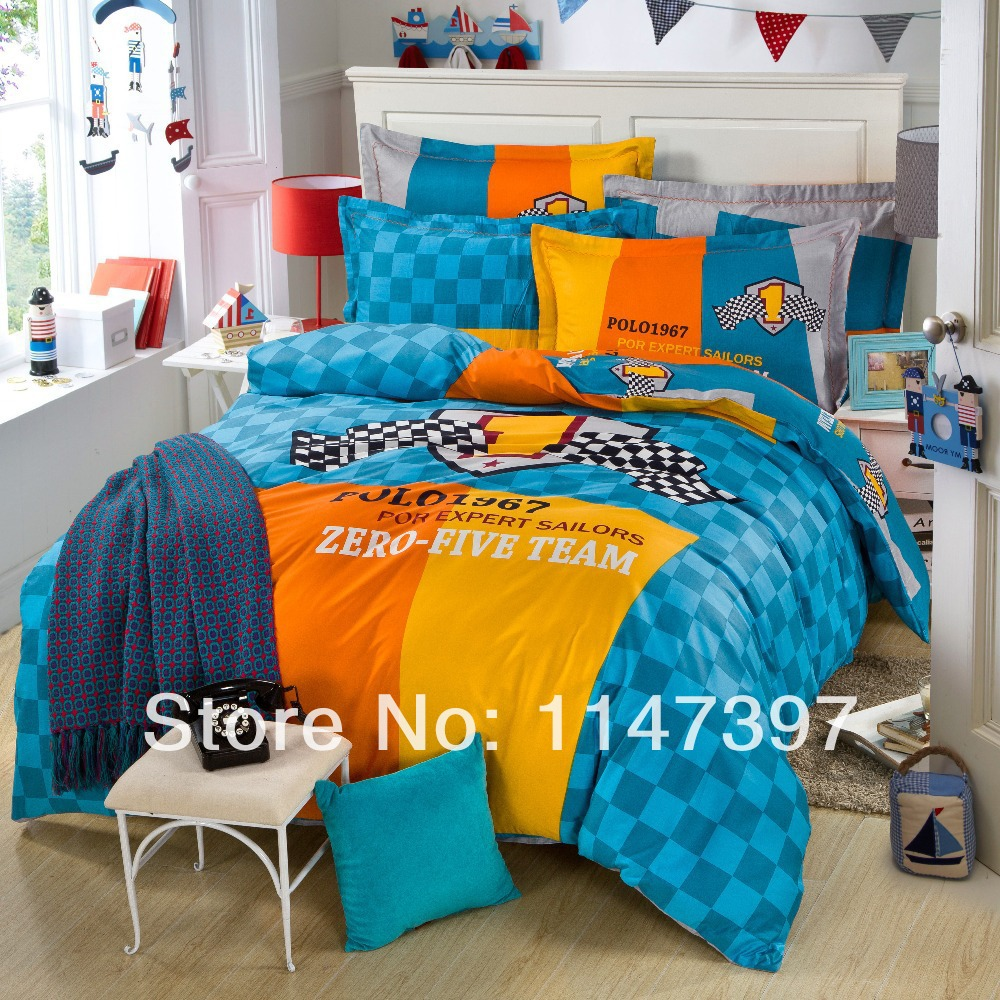 Latest styles yellow blue orange plaid lattice 4 pcs 100 cotton bedding sets bed linens - Blue and orange bedding sets ...