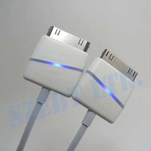 USB Charge Data Cable for i4 4s 30pin LED Light Red Charging Blue Completed(China (Mainland))