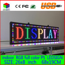 """Free shipping 26""""x 8""""  Programmable LED Scrolling Message Display Sign  led panel Indoor Board P5  full color(China (Mainland))"""