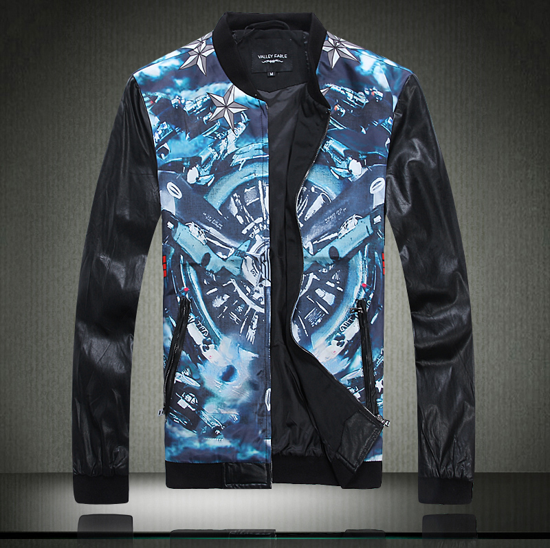 2015Autumn Europe Style Unique 3D Universe Star printed splicing leather jacket coat men casual slim jacket men,large size M-5XL(China (Mainland))