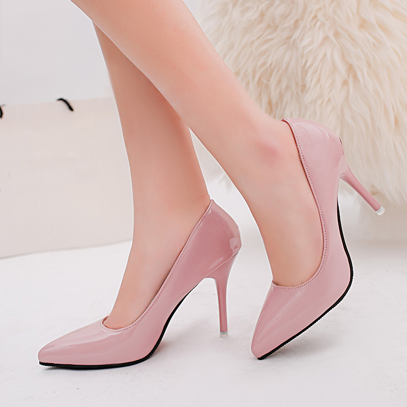 Wedding shoes woman Patent Leather women pumps Basic 2016 red high heels Slip on PU Pointed Toe ladies shoes cheap(China (Mainland))