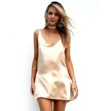 2016 New Fashion Sexy V Neck Satin Slip Summer Dress Sleeveless  Mini Halter Evening Bodycon Club Wear Female Party Dresses(China (Mainland))