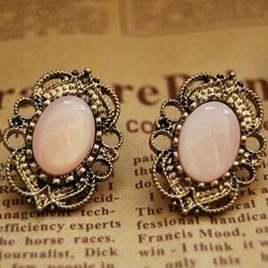 Venta al por mayor precios Trendy 2 Color acrílico Vintage cristalino grande ahueca hacia fuera el cordón gemas de Color rosa pendientes para mujer caliente de la venta(China (Mainland))