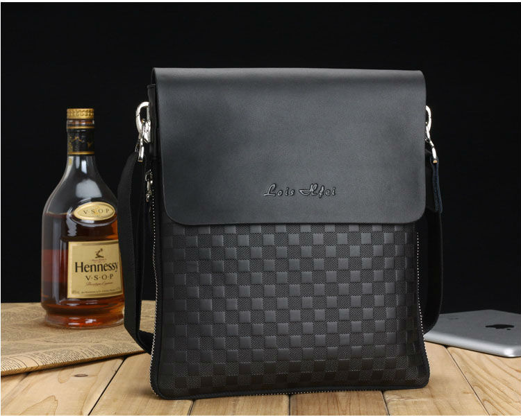 New Arrival 2015 genuine leather men shoulder bags, plaid style leather bags for women, branded leather briefcase, portfolio men(China (Mainland))