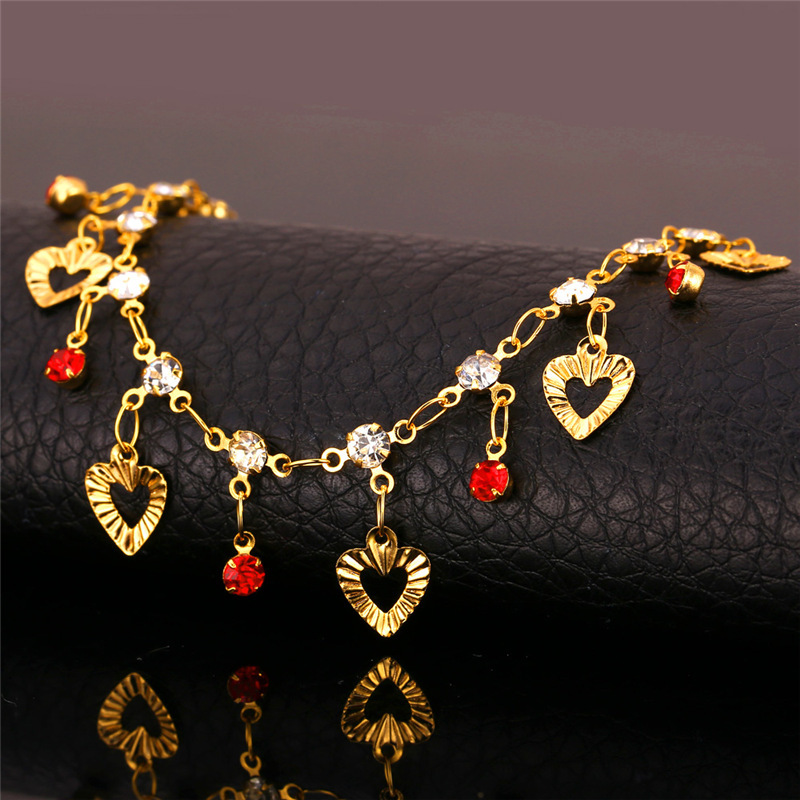 price plated s bracelets beaded bracelet fashion classic accessories for little hearts ankle girl link anklets anklet shape wholesale with adorn gold gifts chain heart rose jewelry women