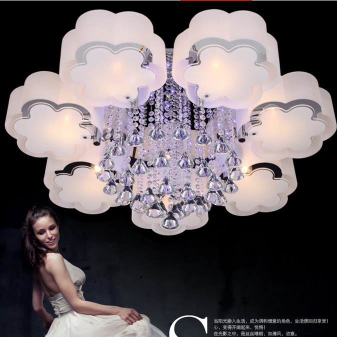 Modern brief crystal led ceiling light acrylic ,3,5,6,7 light for choice crystal ceiling light Free shipping with remote control