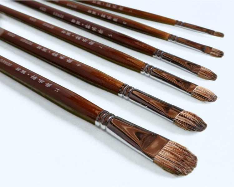 6Pcs Qishuixuan Fine Badger Hair Oil Paint Brush Set Arc Head Rough Brush Strokes Acrylic Paint Brushes Art Supplies For Artist(China (Mainland))