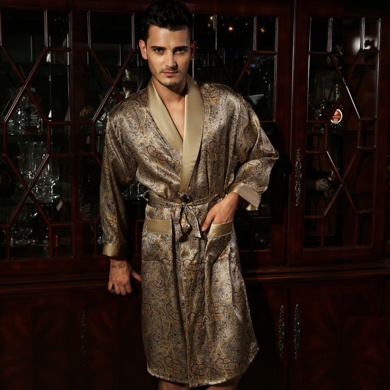 Hot! chinese pure silk robe Male long-sleeve 100% mulberry silk robe sleepwear bathrobe dressing gown men's silk kimono hombre(China (Mainland))