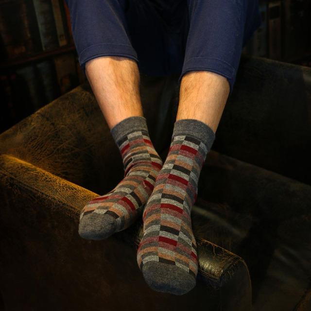 Skarpetki bawełniane, wzór w kratkę