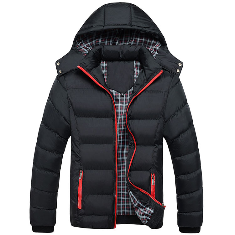 2015 Outerwear Cotton-padded Jacket Man Thickening Male Hooded Wadded Coat Hat Detachable Men's