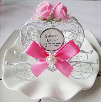 Royal Carriage Wedding Case Candy Heart Box Luxe Gift Favours Metal Rose Ribbon DARK PINK(China (Mainland))