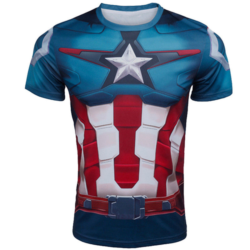 Marvel Super Heroes Captain America Men T shirt Compression Armour Base Layer Short Sleeve Thermal Under Top Sport Fitness shirt(China (Mainland))