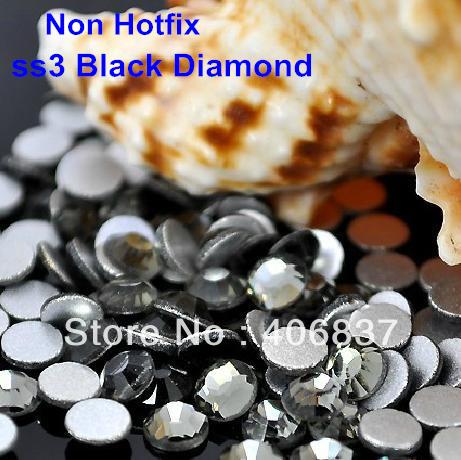 Free Shipping! 1440pcs/Lot, ss3 (1.3-1.5mm) Black Diamond Flat Back Non Hotfix Nail Art Rhinestones(China (Mainland))