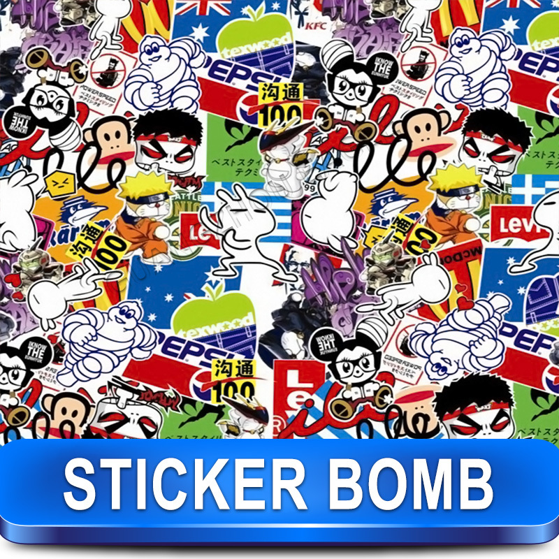 Stickerbomb Vinyl Wrapping Car Sheet Film comic Design 2 / Best Non-Pixelated print / Size: 1.52 x 30 Meter / k-10(China (Mainland))
