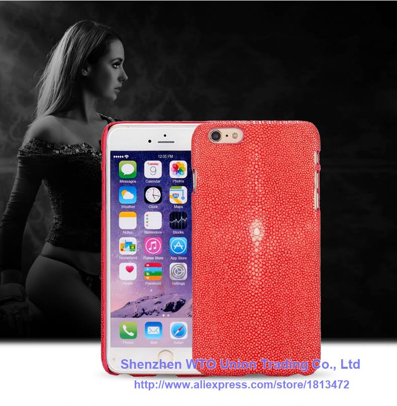 Back Case For Apple iPhone 6 6S 4.7 Top Quality Luxury Pearl Fish Skin Genuine Leather Mobile Phone Protection Rear Cover