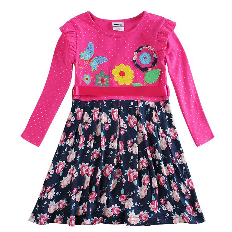 girl dress Children Flower Embroidery Sweet Bebe Girl's Kid Rose Red Spring New Dress Clothes,Baby Girls Floral Dresses Vestidos(China (Mainland))