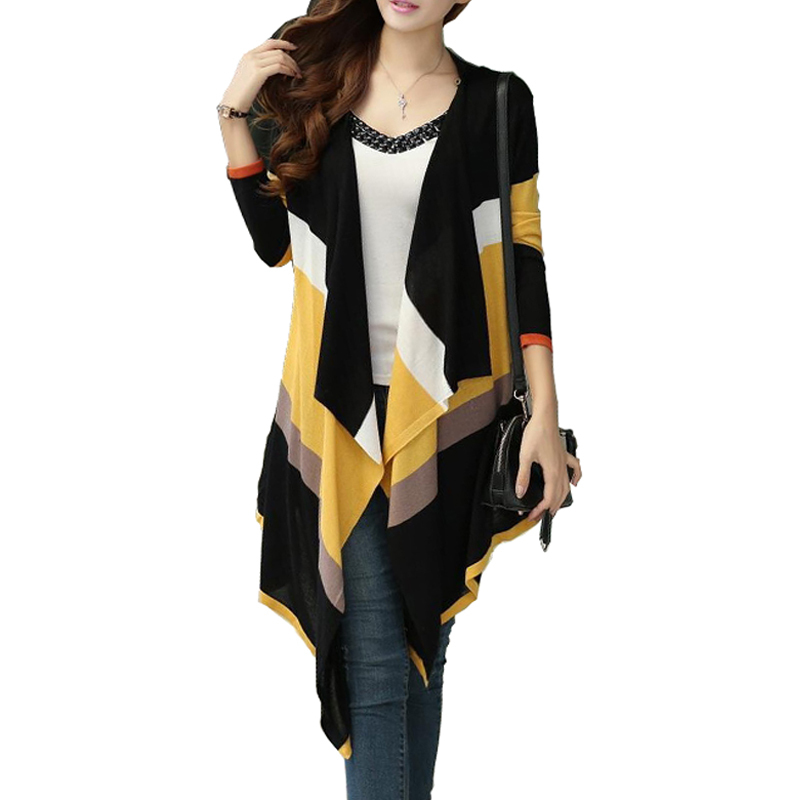 Women Korean Rainbow Colorful Stripes Irregular Knitted Cardigans 2015 Casual Autumn Batwing Shawl Outerwear Sweater pull femme(China (Mainland))