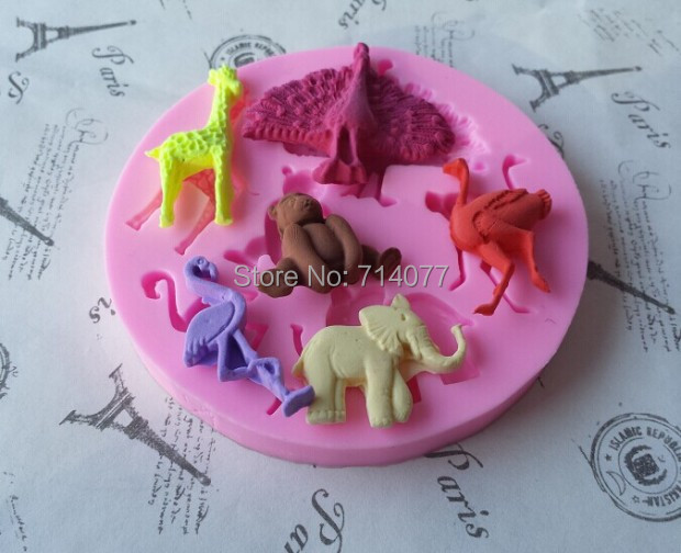 The peacock elephant, giraffe ostrich animal series shape for cake decorating, silicone fondant mold C085(China (Mainland))