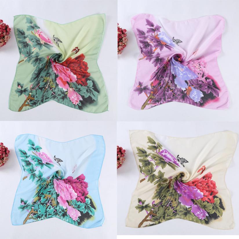 women Spring peonies chiffon professional hood girl neckerchief Printing Square Scarf Head Wrap Kerchief Neck Shawl muffler(China (Mainland))