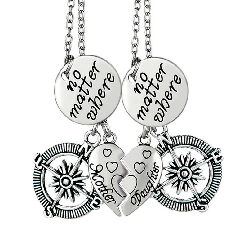 2pcs Silver Chain Mother Daughter Heart Broken Pendant Necklace Compass Charm Women Girl Jewelry Birthday Mother Day Gift(China (Mainland))