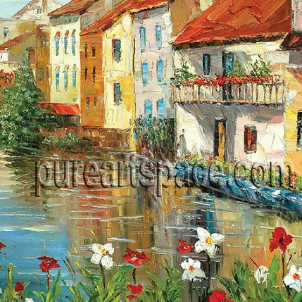 Houses by the river - palette knife oil paintings,buy more and enjoy Wholesale price !(China (Mainland))