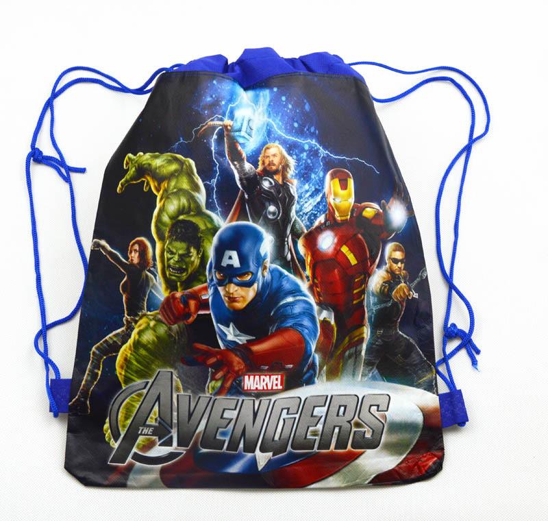 12Pcs The Avengers Hulk Thor Captain America Cartoon Kids Drawstring Backpack Shopping School Traveling Party Bags Gift 34*27CM(China (Mainland))
