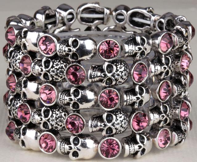 Череп скелета растянуть браслет для женщин байкер манжеты панк хэллоуин кристалл ...