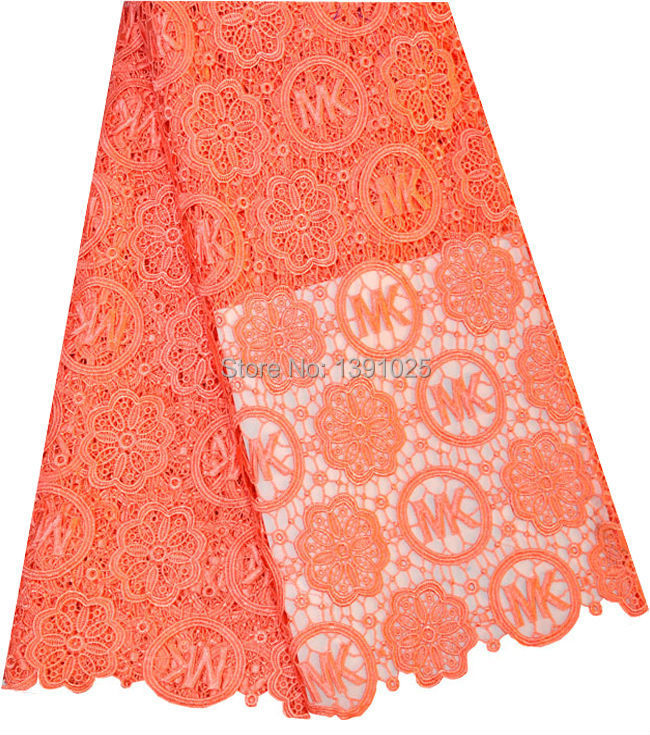 FREE SHIPPING !Cotton Guipure Cord African Lace Fabric Wholesale,african water soluble orange color 5yard/lot W2-122(China (Mainland))