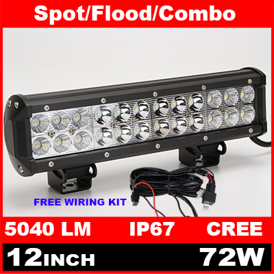 12 Inch 72W Cree LED Work Light Bar + Wiring Kit for Off Road Work Driving Offroad Boat Car Truck 4x4 SUV ATV Spot Flood Combo(China (Mainland))