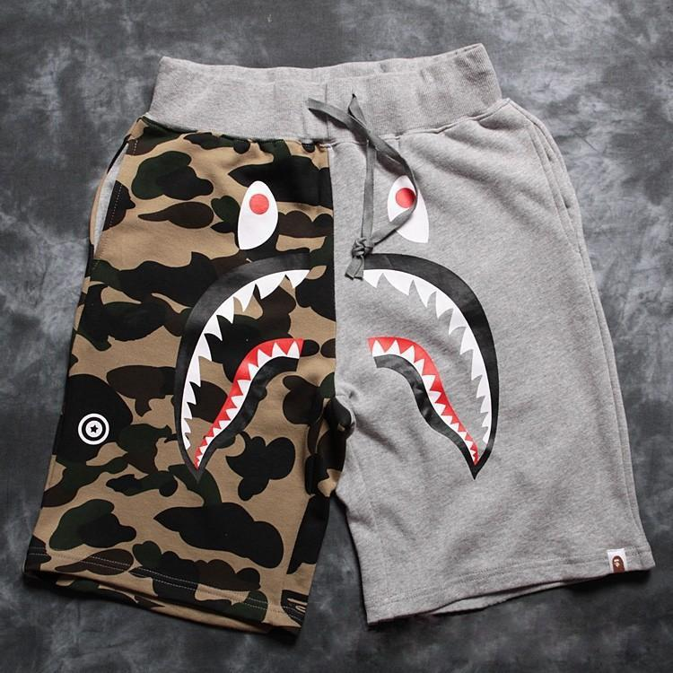 2015 New Bape Shark Camouflage men's sportswear street loose shorts 2 color  -  Luo's Store Focused on Men store
