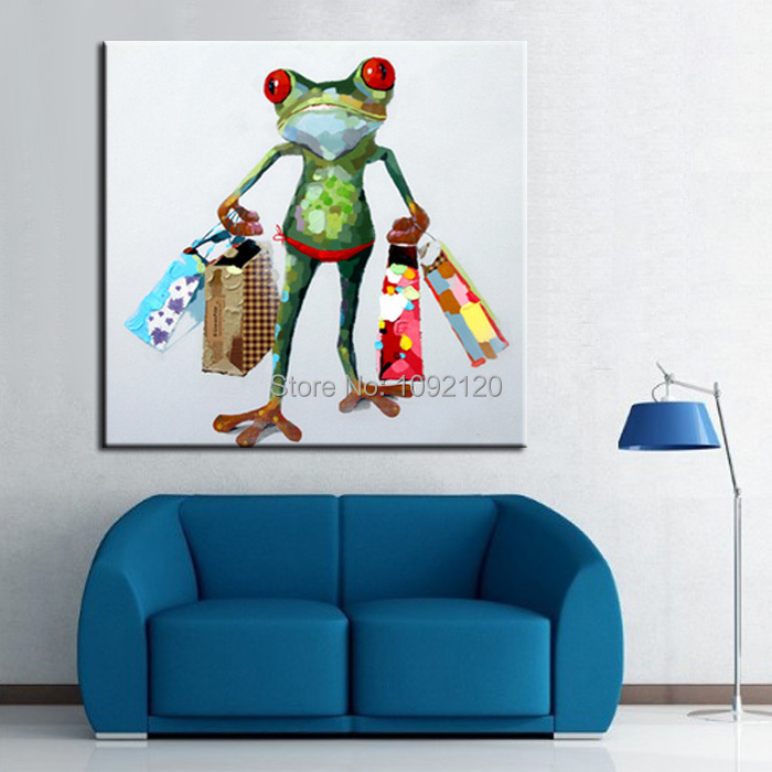 Hand painted wall art picture oil painting on canvas high quality paintings the frog shopping - Home decoration online shopping collection ...
