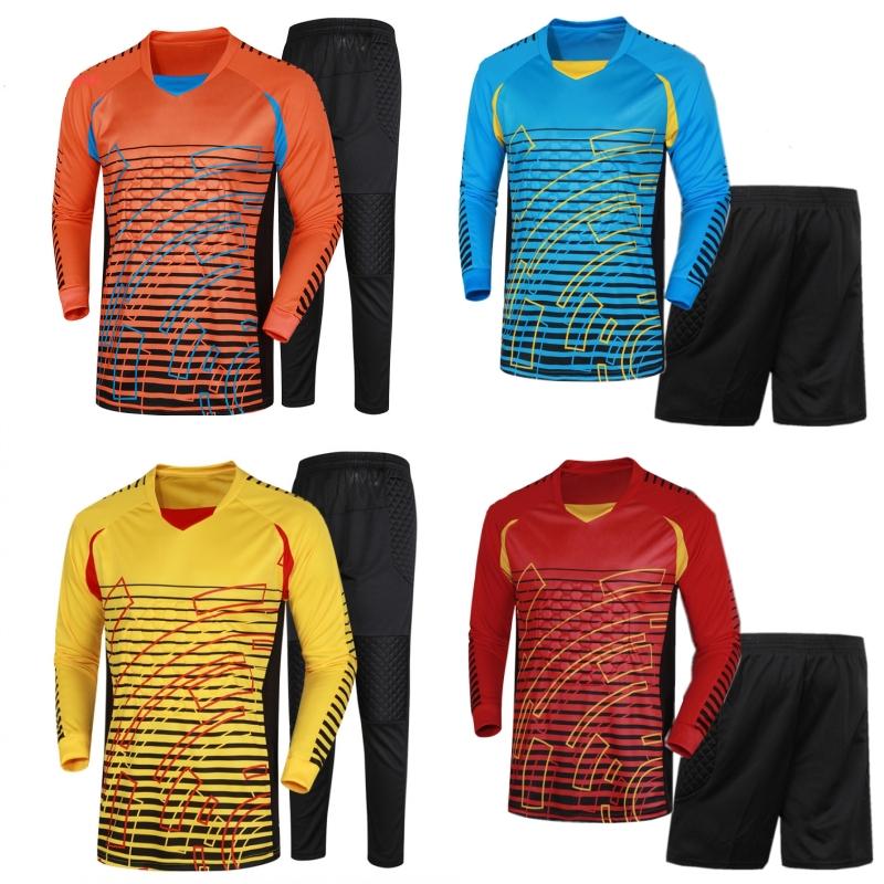 2015 New Brand Men's Soccer Goalkeeper Jersey Football Sets Goal Keeper Uniforms Suit Training Pants Doorkeepers Shirt Short 3XL(China (Mainland))