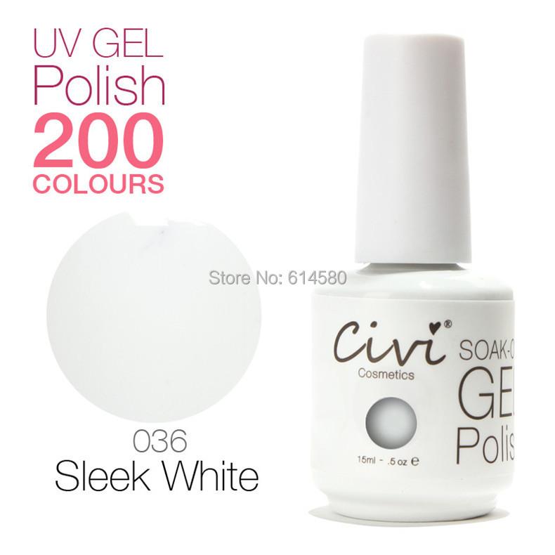 Civi 15ML #036 Sleek White Color UV Gel Nail Polish Cosmetics Art 200 Colors Choose - Ecomcase Store store