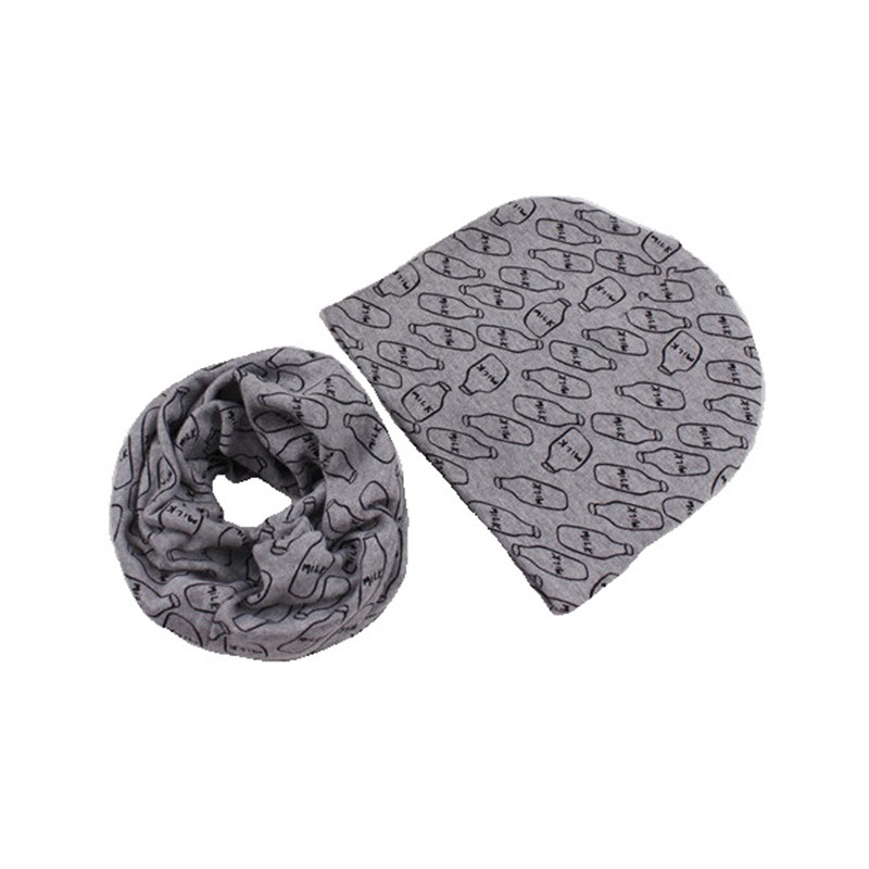 Children's cotton cap and scarf-collar high quality 100% cotton baby hat boys girls kids scarf infant hats set child caps scarf(China (Mainland))