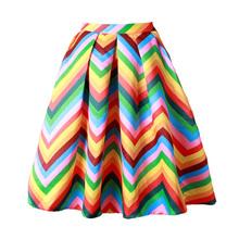2016 New Spring Summer Rainbow Skirt Womens Gorgeous Pleated Stripe Puff Skirt Ladies saia Large Swing midi Skirt For Women(China (Mainland))