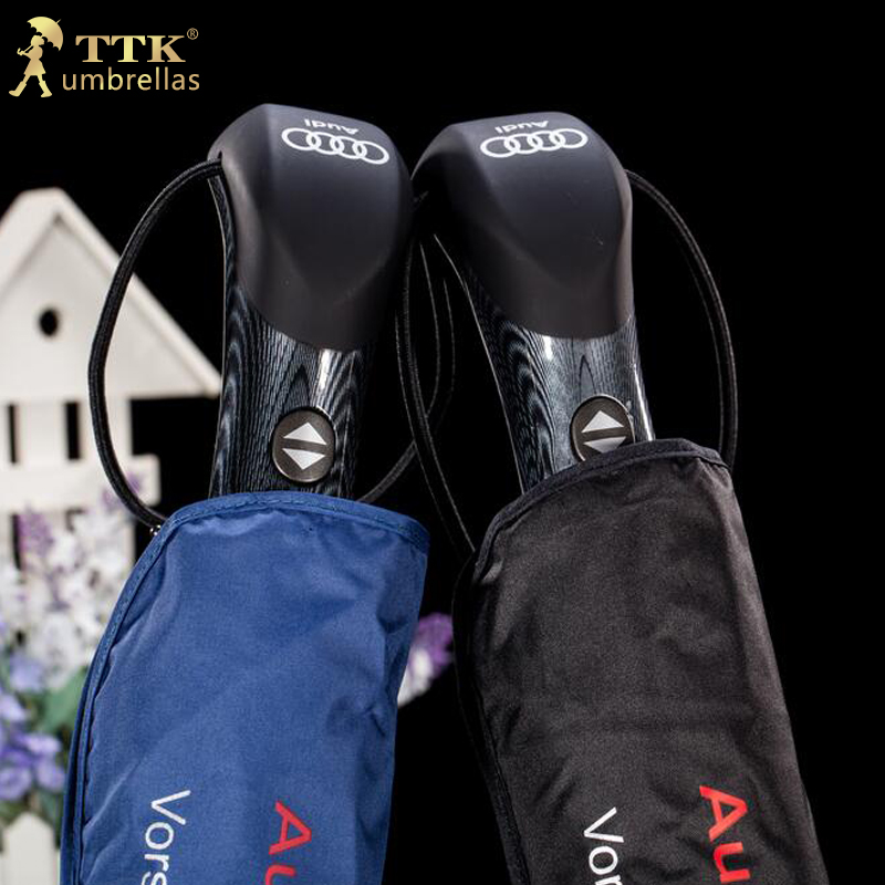 Big sale 2016TTK brand Audi bussiness parasol universal handle sun rain automatic Umbrella 3 Folding male royal windproof men(China (Mainland))