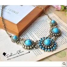 RN-041 Vintage Fashion Jewelry For Women National Wind Sapphire Natural Imitation Gemstone Necklace(China (Mainland))