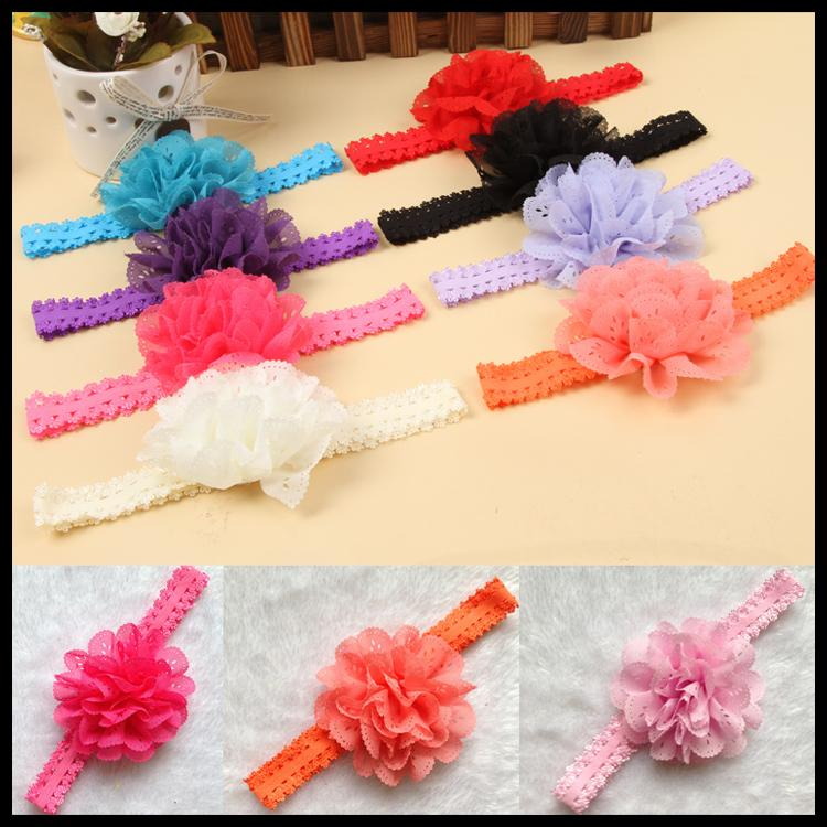 12 Colors Fashion Baby Girl Lace Flower Hair Band Headband Hairband Hair Accessories Drop Shipping BB